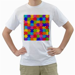 Funny Colorful Jigsaw Puzzle Men s T-Shirt (White) (Two Sided)