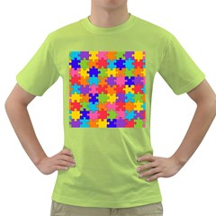 Funny Colorful Jigsaw Puzzle Green T Shirt