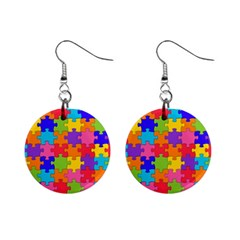 Funny Colorful Jigsaw Puzzle Mini Button Earrings