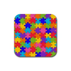Funny Colorful Jigsaw Puzzle Rubber Coaster (Square)
