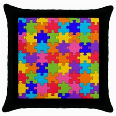 Funny Colorful Jigsaw Puzzle Throw Pillow Case (black)