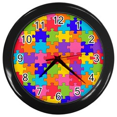 Funny Colorful Jigsaw Puzzle Wall Clocks (black)