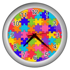 Funny Colorful Jigsaw Puzzle Wall Clocks (silver)
