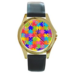 Funny Colorful Jigsaw Puzzle Round Gold Metal Watch