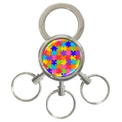Funny Colorful Jigsaw Puzzle 3 Ring Key Chains