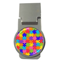 Funny Colorful Jigsaw Puzzle Money Clips (round)