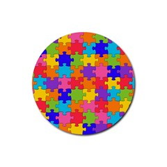 Funny Colorful Jigsaw Puzzle Rubber Coaster (round)