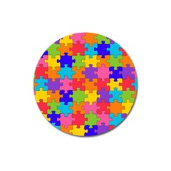 Funny Colorful Jigsaw Puzzle Magnet 3  (round)