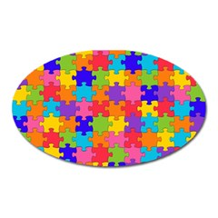 Funny Colorful Jigsaw Puzzle Oval Magnet