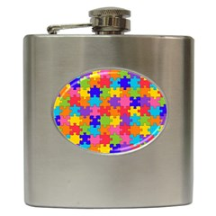 Funny Colorful Jigsaw Puzzle Hip Flask (6 Oz)