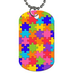 Funny Colorful Jigsaw Puzzle Dog Tag (two Sides)