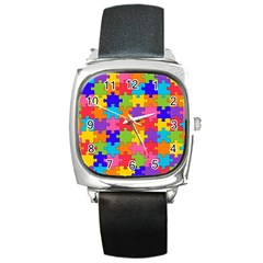 Funny Colorful Jigsaw Puzzle Square Metal Watch
