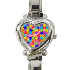 Funny Colorful Jigsaw Puzzle Heart Italian Charm Watch