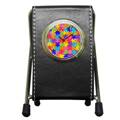 Funny Colorful Jigsaw Puzzle Pen Holder Desk Clocks