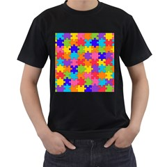 Funny Colorful Jigsaw Puzzle Men s T Shirt (black) (two Sided)