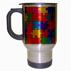 Funny Colorful Jigsaw Puzzle Travel Mug (silver Gray)