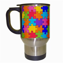 Funny Colorful Jigsaw Puzzle Travel Mugs (white)