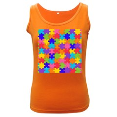 Funny Colorful Jigsaw Puzzle Women s Dark Tank Top