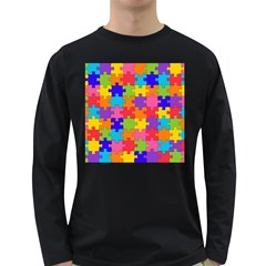 Funny Colorful Jigsaw Puzzle Long Sleeve Dark T Shirts