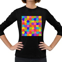 Funny Colorful Jigsaw Puzzle Women s Long Sleeve Dark T Shirts