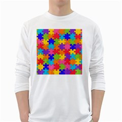 Funny Colorful Jigsaw Puzzle White Long Sleeve T Shirts