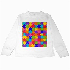 Funny Colorful Jigsaw Puzzle Kids Long Sleeve T Shirts