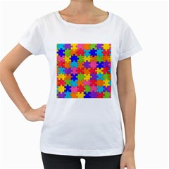 Funny Colorful Jigsaw Puzzle Women s Loose Fit T Shirt (white)