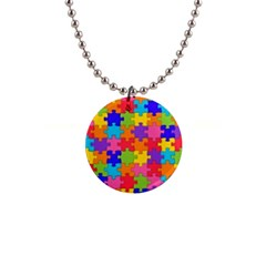 Funny Colorful Jigsaw Puzzle Button Necklaces
