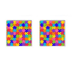 Funny Colorful Jigsaw Puzzle Cufflinks (square)