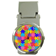 Funny Colorful Jigsaw Puzzle Money Clip Watches