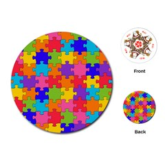 Funny Colorful Jigsaw Puzzle Playing Cards (round)