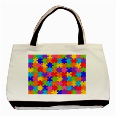 Funny Colorful Jigsaw Puzzle Basic Tote Bag