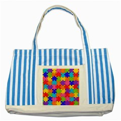 Funny Colorful Jigsaw Puzzle Striped Blue Tote Bag