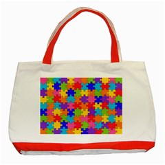 Funny Colorful Jigsaw Puzzle Classic Tote Bag (red)