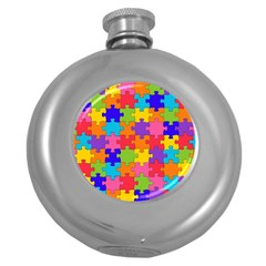 Funny Colorful Jigsaw Puzzle Round Hip Flask (5 Oz)