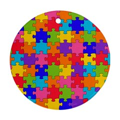 Funny Colorful Jigsaw Puzzle Round Ornament (Two Sides)