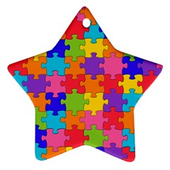 Funny Colorful Jigsaw Puzzle Star Ornament (two Sides)