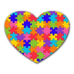 Funny Colorful Jigsaw Puzzle Heart Mousepads