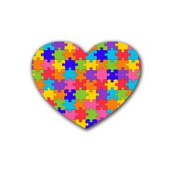 Funny Colorful Jigsaw Puzzle Rubber Coaster (heart)