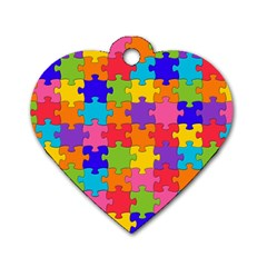 Funny Colorful Jigsaw Puzzle Dog Tag Heart (two Sides)