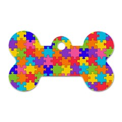 Funny Colorful Jigsaw Puzzle Dog Tag Bone (one Side)