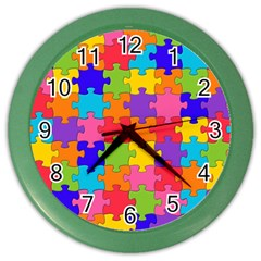 Funny Colorful Jigsaw Puzzle Color Wall Clocks