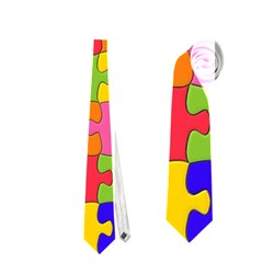 Funny Colorful Jigsaw Puzzle Neckties (one Side)