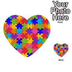 Funny Colorful Jigsaw Puzzle Multi Purpose Cards (heart)