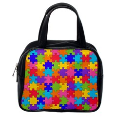 Funny Colorful Jigsaw Puzzle Classic Handbags (one Side)