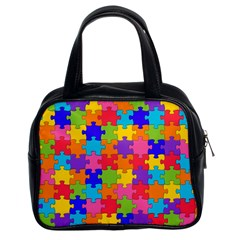 Funny Colorful Jigsaw Puzzle Classic Handbags (2 Sides)
