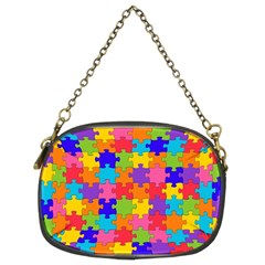 Funny Colorful Jigsaw Puzzle Chain Purses (two Sides)