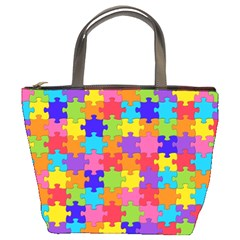 Funny Colorful Jigsaw Puzzle Bucket Bags