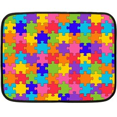 Funny Colorful Jigsaw Puzzle Double Sided Fleece Blanket (Mini)