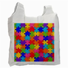 Funny Colorful Jigsaw Puzzle Recycle Bag (one Side)